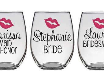 2 Personalized Bridesmaid Glasses - Bridesmaid Glass - Maid of Honor Glass - Bride Wine Glass- Bachelorette Party Glasses
