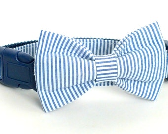 Navy Seersucker in Vertical stripes bow tie ONLY for dog/cat collars, patriotic, pet bow tie, collar bow tie, wedding bow tie
