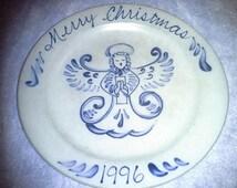 Rowe Pottery Christmas Plate Angel Salt Glaze Gray Blue Holiday