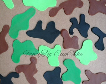 Camouflage pieces (qty 15) for your Cake or Cupcakes. Handmade edible fondant toppers made by FancyTopCupcake