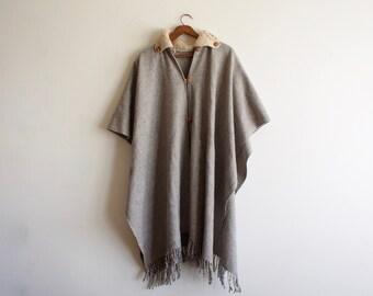 vintage wool cape / poncho