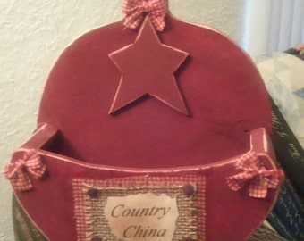 Handmade wooden paper plate holder