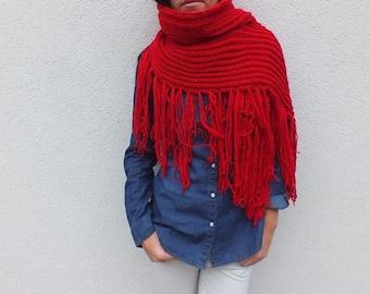 Oversized Red Scarf Cozy scarf Bohemian fringe scarf  Winter scarf Extra long scarf