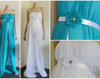 White and Teal Chiffon Maternity Gown with sash