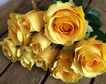 Yellow Artificial Roses & Rose Buds - x 9
