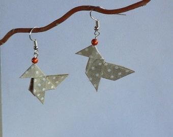 Boucles d'oreilles Origami Cocottes Beiges Petits Pois Blancs Perles Orange.