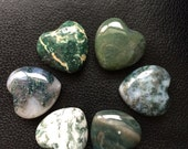 Moss Agate Gemstone Hearts/ hand carved gemstone hearts/ puffy hearts/ meditation tool/ crystal hearts/ reiki healing/ palm stone