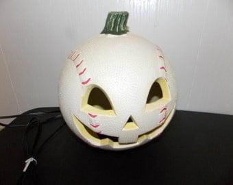 Halloween Light Up Baseball Pumpkin Jack O Lantern