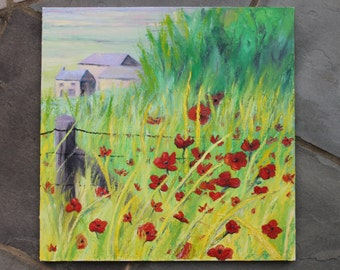 "Large Painting Poppy Fields 20""x 20"" Canvas"