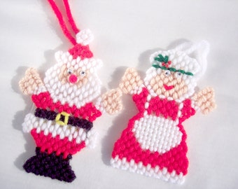 Sale Christmas Ornaments Santa Clause and Mrs Clause Set of Four Plastic Canvas