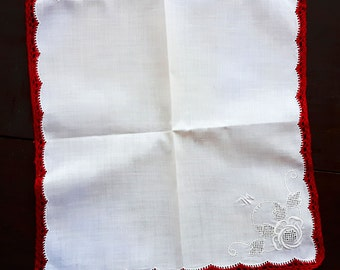 White cotton handkerchief vintage with handmade lace initials JM