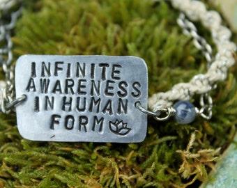 Infinite Awareness In Human Form. Metal Stamped Bracelet.