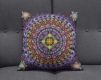 Boho Chic Hippie  Mandala Throw Pillows , Square , Rectangle , Many sizes  Dark Purple