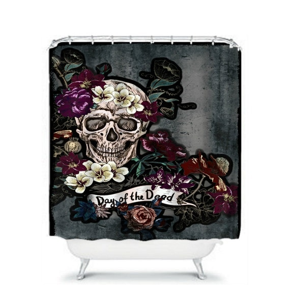 ... to Sugar Skull Shower Curtain Skeleton Grunge Day Of The Dead on Etsy