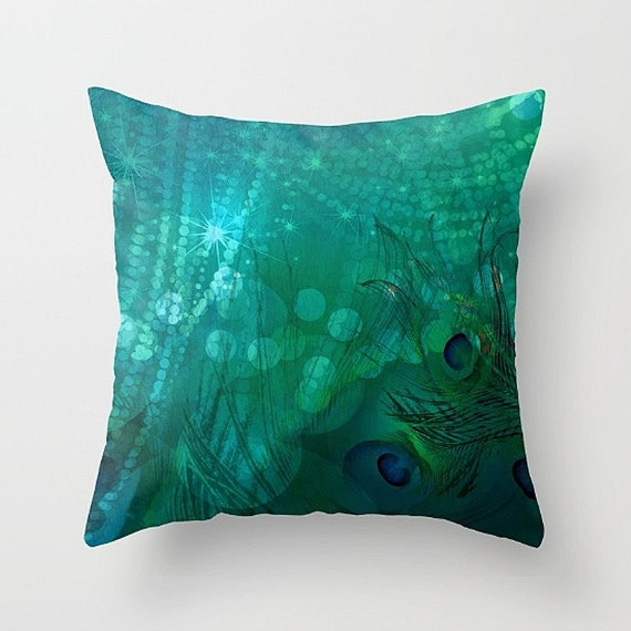 Decorative Pillows Etsy : Peacock Pillow Decorative Throw Pillows Abstract