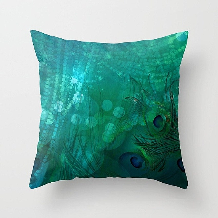 Throw Pillow Peacock : Peacock Pillow Decorative Throw Pillows Abstract