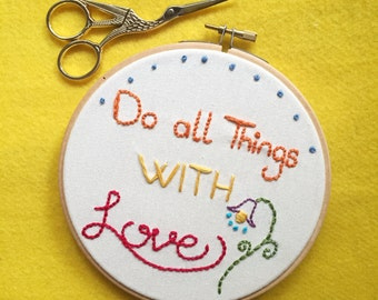 Love - Embroidery Hoop art, fibre arts , home decor, wall hanging, bespoke embroidery, embroidery wall decor, embroiodery gift, hoop art