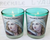 Candles - Pair of Saint Mary Magdalene Aqua Votive Candles