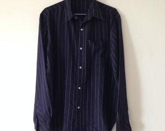 Vintage Mens Shirt, Hand sewn, Dark navy stripes, Collared Shirt, Full sleeves, XXL, Slim fit shirt, College Shirt, Formal Shirt