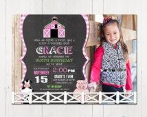 Girl Farm Invitation, Farm birthday invitation, Pink farm invite, old mcdonald Invitation, Farm Animal Invitation, Printable Invitation