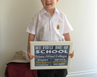 Personalised First Day of School Printable Chalkboard