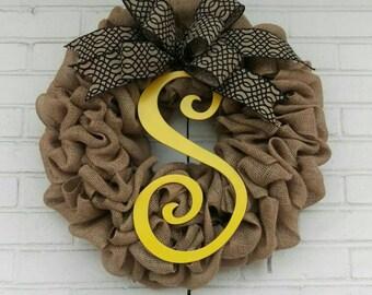 Black and Yellow Monogram Burlap Wreath