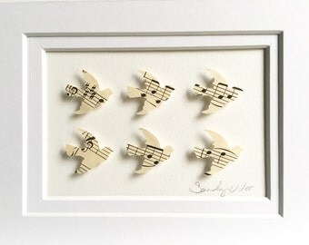 "Vintage music sheet doves 5""x7"" 3D Paper Art, music sheets, wall decor, paper art"