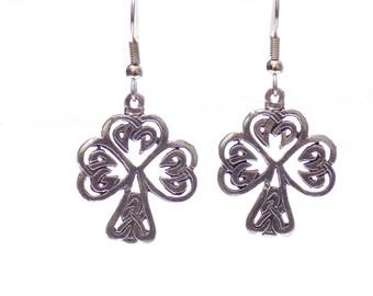 Earrings, Irish earrings, celtic shamrock earrings, celtic earrings, pewter charm earrings, tree of life earrings, shamrock earrings
