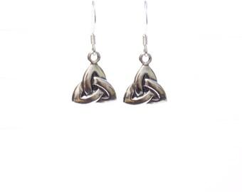 Celtic triangle earrings, Sterling silver earrings, triangle earrings, celtic earrings, Irish jewelry gifts, earrings, small earrings