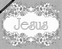 Jesus Coloring Sheet - Christian Adult Coloring Page - WildFlower Clipart - Scripture Art - Printable Sunday School Artwork, WWJD