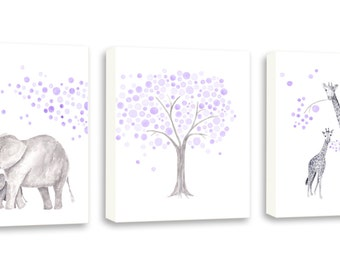 Girls Nursery Art, Canvas Wall Art, Purple and Gray, Lavender and Gray Nursery Decor, Elephant Nursery Art, Watercolor Pictures - S055