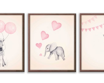 Girls  Nursery Painting, Watercolor Nursery Art, Kids Wall Art, Elephant Art, Limited Edition Set Of Three Art Prints - SO64B