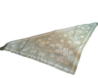 Glentex Pastel Green and Ivory Floral Oversize Scarf - Made in Italy