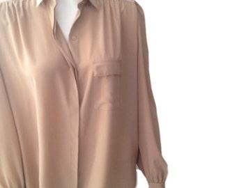 Serge Nancel Pinkish Beige Blouse - Size US 10, FR 42