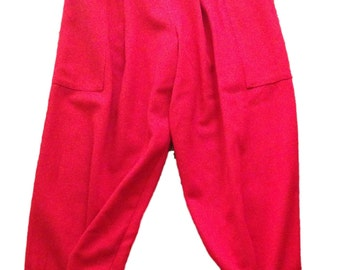 Vintage Melinda Red Wool Trousers - Size XS
