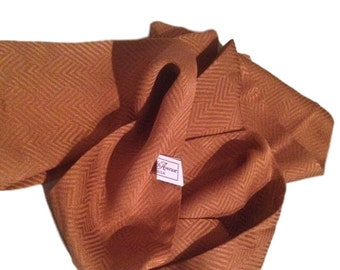 Gold Silk Chevron Saks Fifth Avenue Scarf / Echarpe