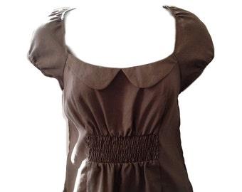 Maeve Taupe Peasant Dress (Size 10)