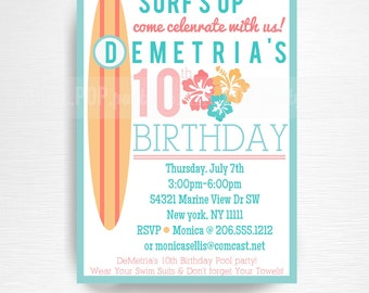Surf Birthday Party Printable Invitation YOU Print