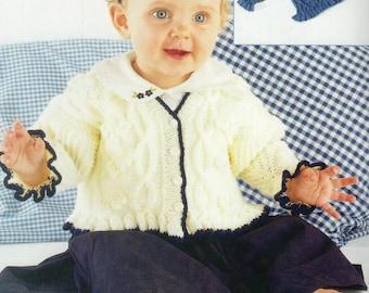 Vintage Sirdar Baby Cardigan & Beret 0-8yrs DK Knitting Pattern