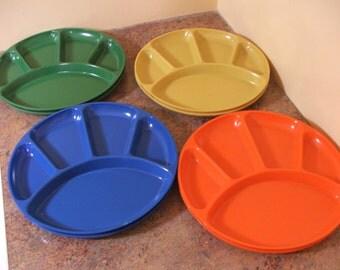 Set of Eight (8) Vintage 1960s Plastic Five-Section Fondue / Appetizer Plates in 4 colors