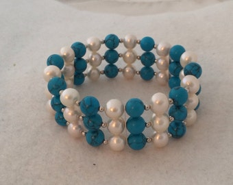 Designer Turquoise Howlite Agate Fresh Water Pearls Sterling Silver 925 Stretch Bracelet