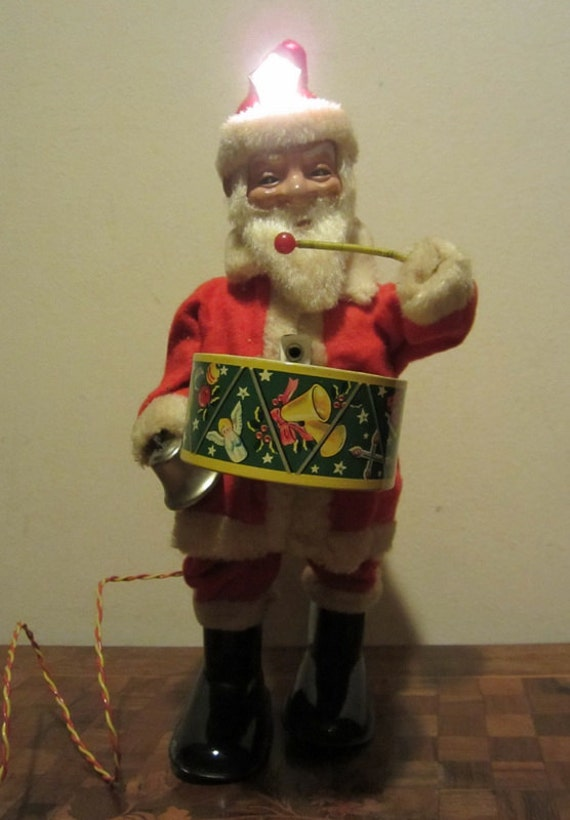 Battery Operated Ride On Toys >> Vintage Santa tin toy battery operated by ElflingAntiques on Etsy