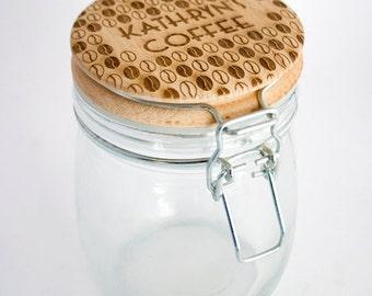 Coffee Jar Personalised - Engraved Storage Jar, coffee jar, kitchen storage.