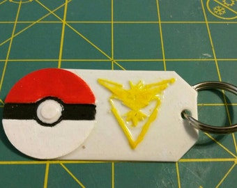 Pokemon Go team Instinct backpack tag painted