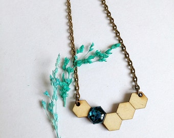 Honeycomb Necklace in Mystic, Handcrafted gift