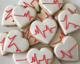 EKG Heart Sugar Cookies; 2 Dozen