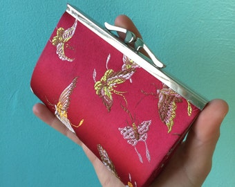 90s vintage silky butterfly coin purse/wallet/clutch