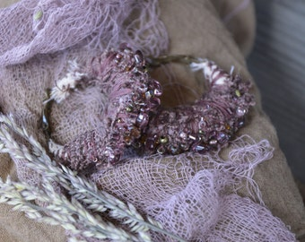 Lavender Amethyst textile hoop earrings