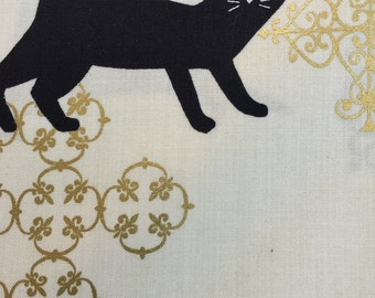 Black Cats with Gold Filigree by QuiltGate