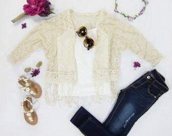 Girls Cream Boho Fringe Lace Dolman Sleeve Cardigan Top Sizes 8/10 & 12/14 Ready to Ship